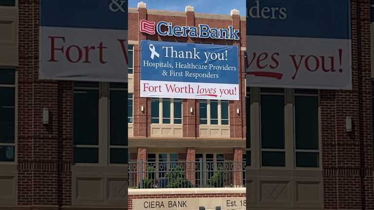 'Thank you' banner at Fort Worth bank