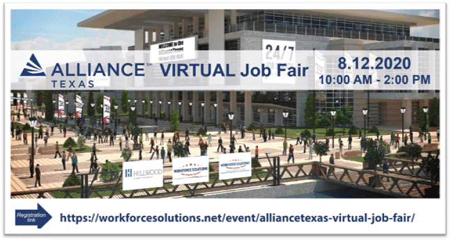 AllianceTexas virtual job fair set for Wednesday, Aug. 12